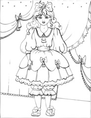 Coloring book for children. Beautiful little princess 27