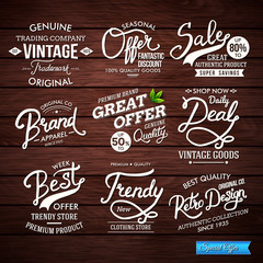 Various Fashion Labels on Wooden Vintage Background