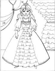 Coloring book for children. Beautiful little princess 29