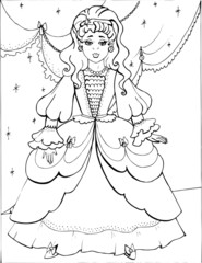 Coloring book for children. Beautiful little princess 33