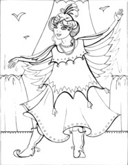 Coloring book for children. Beautiful little princess 34