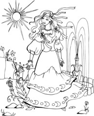 Coloring book for children. Beautiful little princess 40