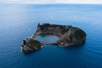 Azores, Portugal. Aerial view of the Islet of Vila Franca do Campo.