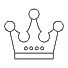 Crown thin line icon, jewellery and accessory, corona sign, vector graphics, a linear pattern on a white background.