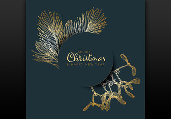 Christmas Card Layout with Golden Accents