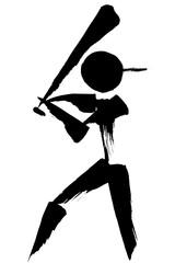 筆絵 野球・ソフトボールのシルエット