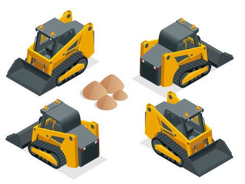 Isometric tracked Compact Excavators. Orange Steer Loader isolated on a white background