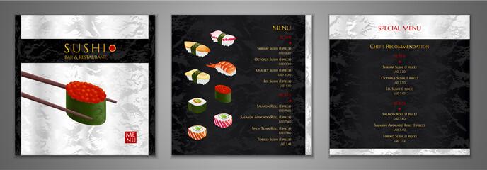 Sushi bar Menu design. Japanese restaurant Menu template with salmon sushi roll, shrimp, octopus vector on black, silver marble textured background. Elegant luxury cover useful for Cafe Menu, brochure