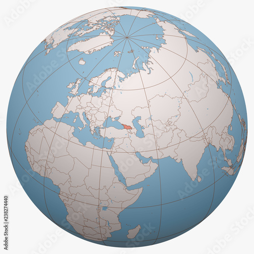 Georgia on the globe. Earth hemisphere centered at the ...