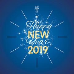 2019 Happy New Year gold midnight firework clock blue background vector