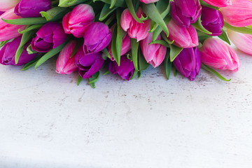 Violet and pink fresh tulip flowers on white wooden background with copy space