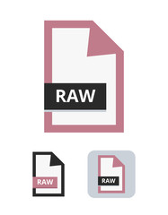 Raw file flat vector icon. Professional photo format. Symbol of RAW camera file for pictures, photos and images isolated on a white background.