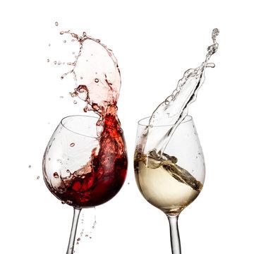 Red and white wine glasses splash