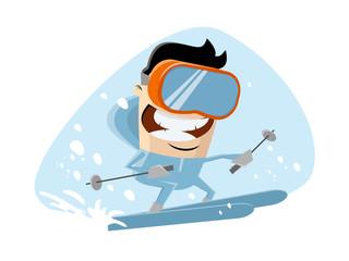 funny cartoon illustration of a skiing man