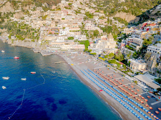 An aerial view of Positano on the Amalfi Coast in Italy