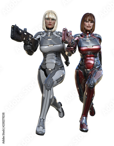 3d illustration of futuristic female soldiers in full body