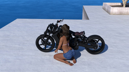 3d illustration of a tanned woman wearing a pink bikini top and shorts working on a motorcycle on a concrete patio in the late afternoon light.