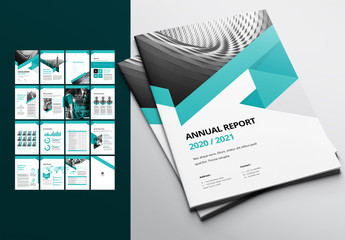 Annual Report Layout with Green Accents