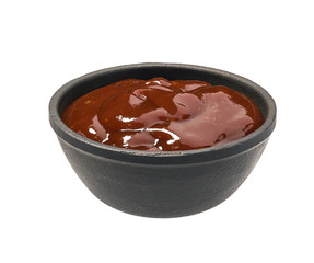Barbecue sauce in  black bowl isolated on white background