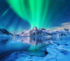 Aurora borealis over snowy mountains, frozen sea coast and reflection in water in Lofoten islands, Norway. Northern lights. Winter landscape with polar lights, ice in water. Starry sky with aurora