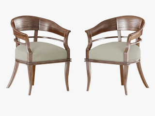 Two chair with wooden armrests 3D rendering