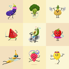 Set of Sports fruit characters. Cute healthy vegetables and funny face berries. Happy food watermelon broccoli avocado turnip strawberry eggplant banana. vegetarian vitamin diet.