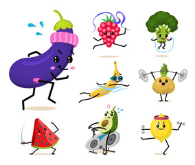 Sports fruit characters. Set of Cute healthy vegetables and funny face berries. Happy food strawberry eggplant banana watermelon broccoli avocado turnip. vegetarian vitamin diet and fitness concept.