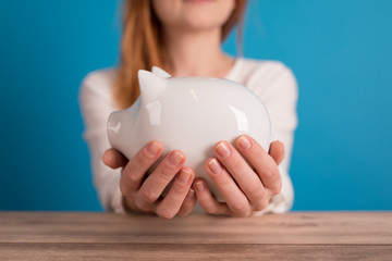 girl with a piggybank