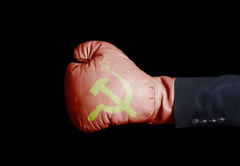 Male hand in Boxing glove with USSR flag