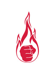 brennen heiß flammen feuer faust hand geballt aufschlagen boxen aggressiv wütend stark schlagen protest comic cartoon clipart design