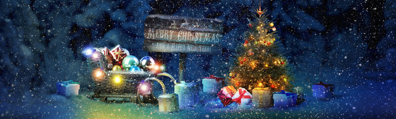 Poster Bleu nuit Schneemann - Weihnachtsmotiv