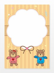 Blank card template with brown color and teddy bear cartoon