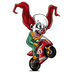 vector illustration joker Biker Motorcycle Rider racing