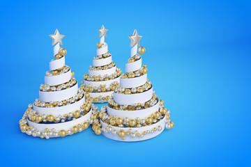 Spiral Christmas trees 3d color illustration