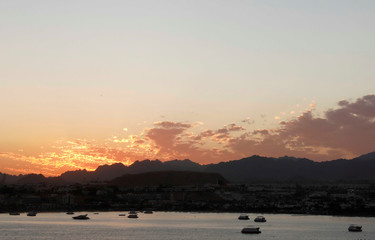 Boats and small ships are seen at Naama Bay during sunset in the Red Sea resort of Sharm el-Sheikh