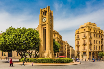 Fototapete - Nijmeh Square downtown in Beirut capital city of Lebanon Middle east