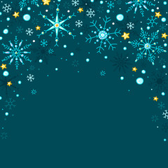 Doodle style vector snowflakes and stars frame background