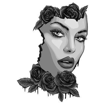 face woman with roses