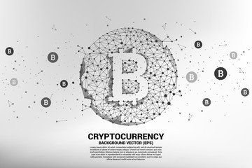 Vector bitcoin icon from Polygon dot connect line. Concept for cryptocurrency technology and financial network connection.
