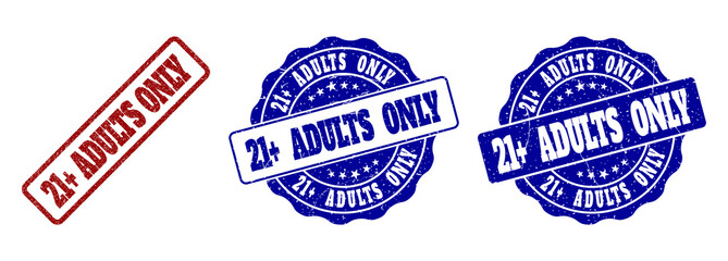 21+ ADULTS ONLY scratched stamp seals in red and blue colors. Vector 21+ ADULTS ONLY labels with distress effect. Graphic elements are rounded rectangles, rosettes, circles and text captions. Wall mural