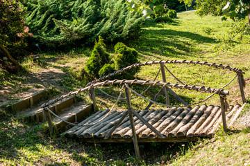 Small wooden bridge in Ataturk Arboretum in Istanbul
