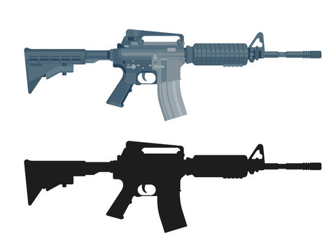 M16 assault rifle isolated on white. Flat design. Military automatic gun silhouette. Vector illustration
