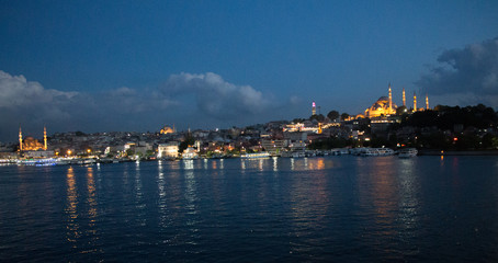 Night view of Golden Horn and Suleymaniye mosque