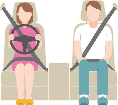 運転する女性と助手席に座る男性