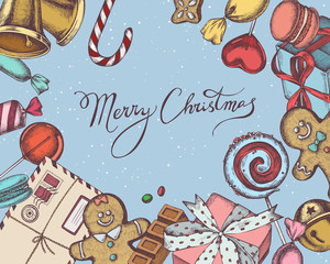 Vector composition with colored bells, jingles, gingerbread men, gingerbread, macaron, lollipop, bar, candies, stocking, lettering, gift boxes