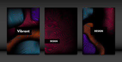 Wavy Lines in Movement. Abstract Backgrounds with Vibrant Gradient and Volume Effect in Modern Style. 3D Vector Abstraction with Distorted Shapes. Wavy Lines for Cover, Magazine, Poster, Brochure.