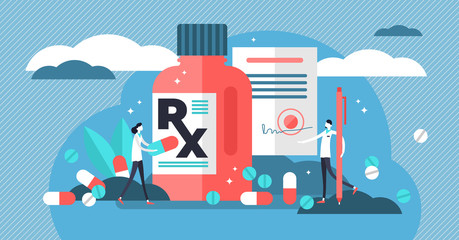 RX medical prescription drug vector illustration. Flat mini persons concept