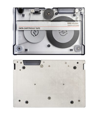Two sides of retro data cartridge tape isolated on white background. Computer backup tape for data recovery.