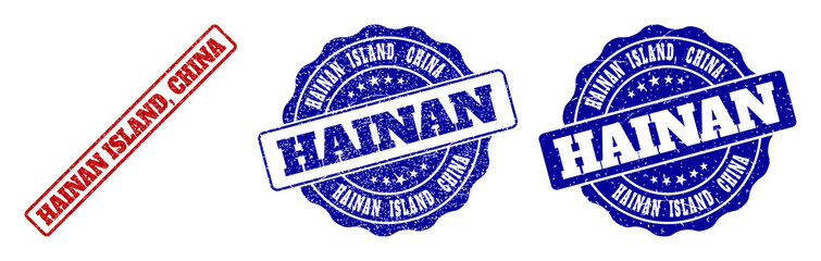 HAINAN ISLAND, CHINA grunge stamp seals in red and blue colors. Vector HAINAN ISLAND, CHINA signs with grunge effect. Graphic elements are rounded rectangles, rosettes, circles and text titles.