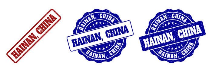 HAINAN, CHINA grunge stamp seals in red and blue colors. Vector HAINAN, CHINA imprints with grunge surface. Graphic elements are rounded rectangles, rosettes, circles and text labels.